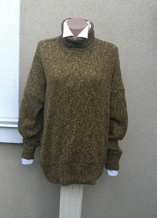 Кофта,свитер,гольф,водолазка,хлопок+полиэстер,меланж,большой р...
