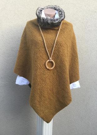 Шерстяное пончо,накидка с меховым воротом,италия,шерсть