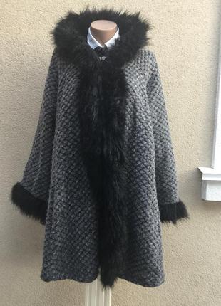 Шерсть,фактурное пальто-пончо,кардиган с капюшоном,мех,большой...