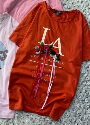 Хлопковая футболка с принтом и вышивкой primark