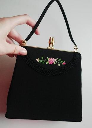 Маленькая,чёрная,вечерняя,винтаж сумочка,радикюль ручной работ...