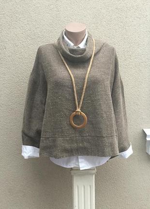 Кофта,блуза фактурной ткани,лен,большой размер,этно,бохо стиль...