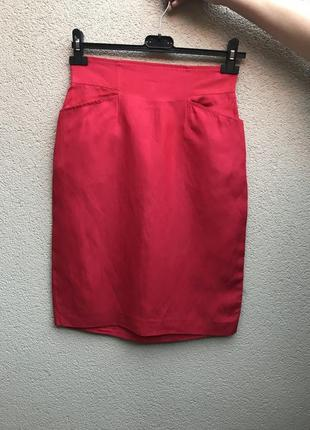 Винтаж,красная юбка-карандаш,карманы по боку,шёлк+лён,люкс бре...