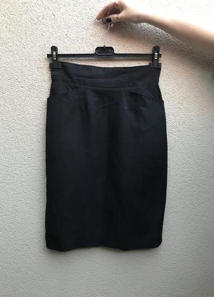 Винтаж,юбка-карандаш,карманы по боку,шёлк+лён,люкс бренд,ориги...