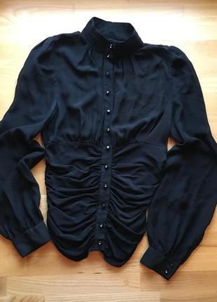 Чорна сорочка з коміром стійкою roxelan