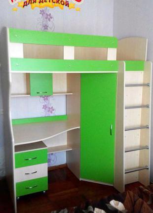 Детская кровать-чердак с рабочей зоной и угловым шкафом К11 Merab