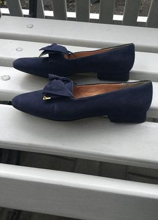 Винтаж,эксклюзив,замшевые туфли с бантом,лодочки,38р/24 см,mar...
