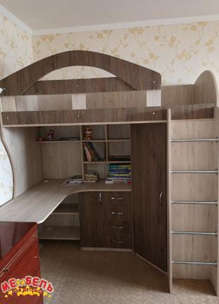 Детская кровать-чердак с рабочей зоной и угловым шкафом К10-2 ЭКО