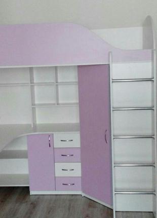 Детская кровать-чердак с рабочей зоной и угловым шкафом К10-3 Mer