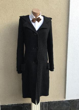 Шерсть пальто,капюшон,накладные карманы(без подкладки),кардига...