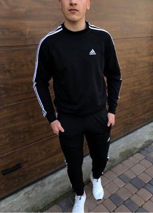 Мужской спортивный костюм Adidas чёрный спортивный костюм Адидас