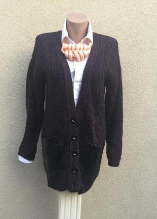 Вязанная кофта в косы,на застежке,кардиган с кожаными карманами,
