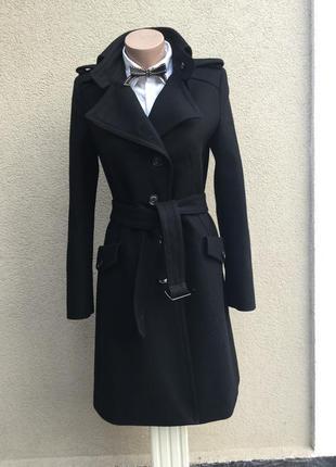 Чёрное пальто,шерсть,дорогой,люкс бренд,маленький размер,dryko...