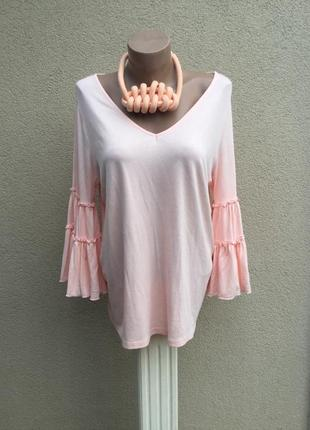 Розовая кофта,блуза трикотаж.вискоза ткань,воланы,рюши на рука...