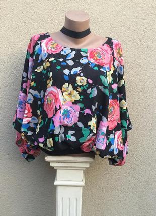 Красивая блуза-реглан,пончо,объёмная в цветочный принт