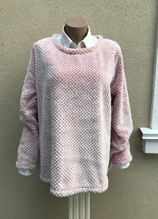 Теплый,розовый,пушистый свитер,кофта меховая,свитшот домашний,...