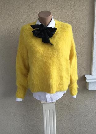 Желтая,пушистая кофта,v-образный вырез,свитер,джемпер,акрил+ал...
