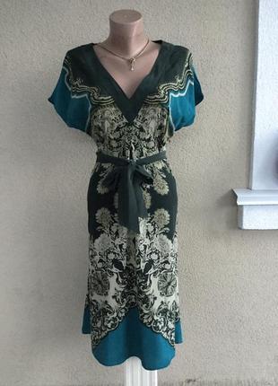 Лёгкое,шелковое платье под пояс,сарафан в принт,большой размер...