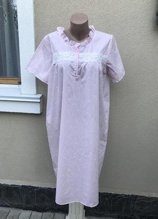 Новая,розовая в горошек ночнушка,пижама длинная,платье ночное,...