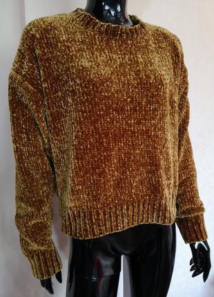 Горчичный плюшевый свитер new look