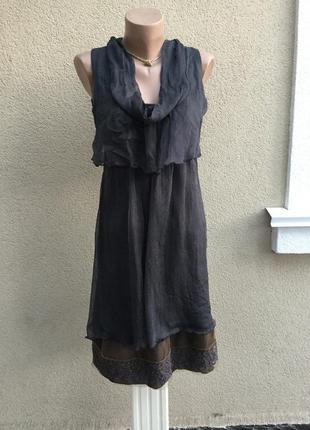 Лёгкое,шелк платье,сарафан,туника многослойная с вышивкой,бохо...