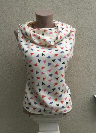 Легкая,веселенькая,шелковая блуза в разноцветные сердечки,воро...