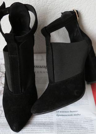 Туфли женские с резинкой на каблуке 10 см натуральная черная змша