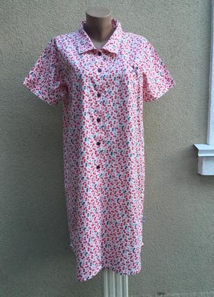Платье-рубашка-халат,домашнее в вишенки,стиль прованс,дизайнер...