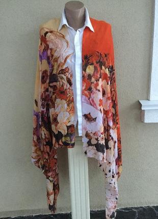 Большой,шёлковый шарф,палантин,платок в цветочный принт
