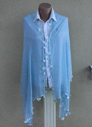 Тонкий,большой шарф,палантин,платок в горохи,этно стиль,тесьма...