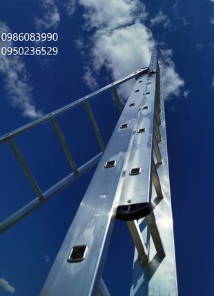 Алюминиевая трехсекционная универсальная лестница 3 х 12 ступеней