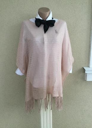 Розово-пудровое,ажур,трикотаж,вязанная кофта-пончо,туника с ба...