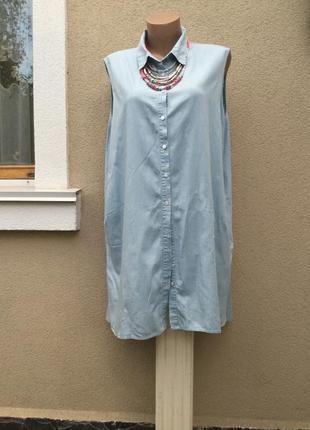 Новая,тонкая,голубая,джинс рубашка,удлинен спинка,блуза,туника...