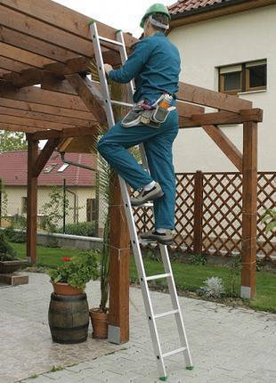 Алюминиевая односекционная приставная лестница на 6 ступеней
