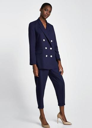 Темно-синий жакет,пиджак в мелкий горошек,офисный,большой размер