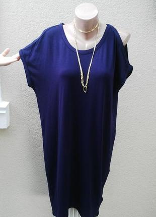 Платье,туника-футболка из трикотажной ткани,открытыми плечами,...