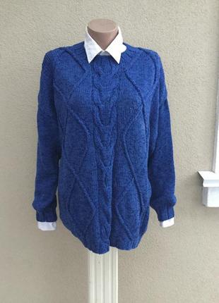 Свитер синий,кофта вязан,джемпер,унисекс,винтаж,косы,hand made...