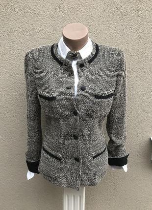 Жакет,пиджак удлинен.,трикотаж,букле золотая(люрекс)нить,стиль...