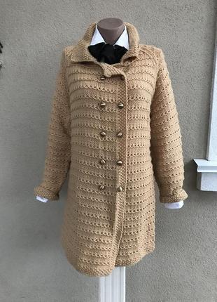 Трикотаж,теплый кардиган,вязанное,фактурное пальто,кофта,больш...