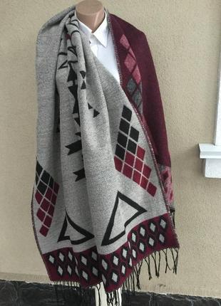 Большущий,тёплый,двухсторонний шарф,палантин,плед в этно,бохо ...