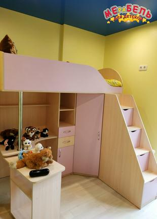 Кровать-чердак с выдвижным столом и угловым шкафом КЛ24 Merabel