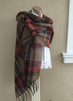 Тёплый шарф по типу мохера,палантин,плед в разноцветную клетку...
