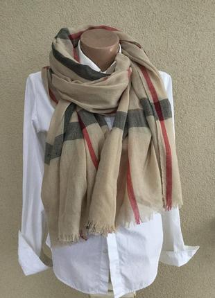 Красивый,большой,тонкий шарф,палантин в клетку,бахрома,в стиле...