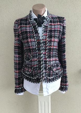 Красивый,фактурный жакет,пиджак твидовый,стиль шанель,клетка,х...