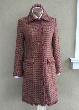 Красивое,твидовое пальто по фигуре,бахрома,стиль шанель,шерсть...