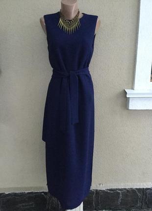 Синее платье из плотной,фактурной ткани, интересного кроя,сара...