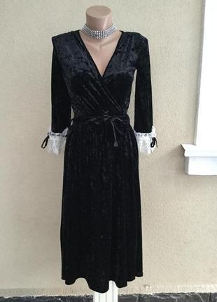 Чёрное,велюровое,бархатное,вечернее платье,белое кружево по ма...