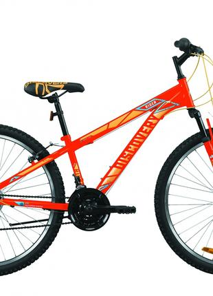 Велосипед 26″ Discovery RIDER 2020 (красно-оранжевый с синим)