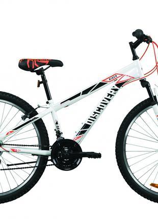 Велосипед 26″ Discovery RIDER 2020 (бело-красный с серым)