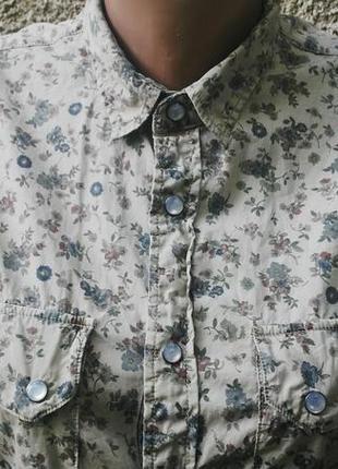 Рубашка sisley хлопок в цветочный принт